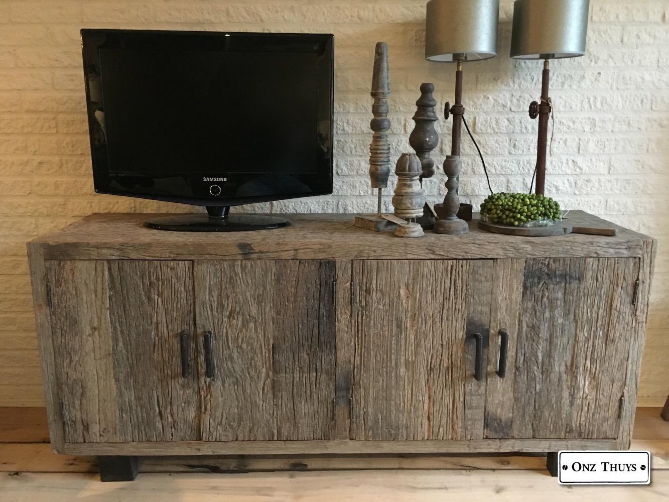 Stoer industriel landelijk driftwood tv meubel 4 deurs for Stoer landelijk