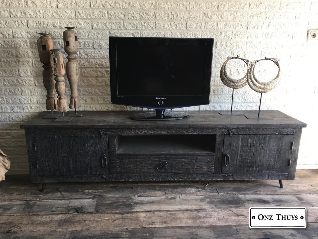 Samsung Tv Met Meubel.Tv Meubel Oud Zwart Kasten Onz Thuys